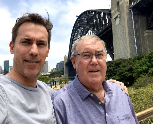 Roger, with son Grant in Sydney, January 2020.